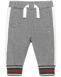 Gucci Web Trim Cotton Blend Track Pants Gray Size 6 36 Months