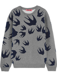MCQ Alexander Ueen Flocked Cotton Blend Terry Sweatshirt Gray