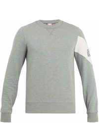 Moncler Gamme Bleu Chevron Insert Cotton Jersey Sweatshirt