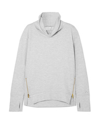 Varley Clet Zip Embellished Stretch Cotton Blend Jersey Sweatshirt