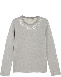 Comme des Garcons Comme Des Garons Comme Des Garons Jupe By Jackie Faux Pearl Embellished Cotton Terry Sweatshirt Gray