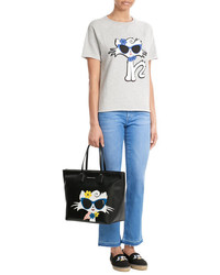 Karl Lagerfeld Cut Off Sleeve Choupette On The Beach Cotton Sweatshirt