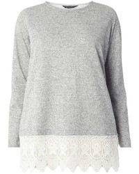Dp Curve Grey Crochet Hem Top
