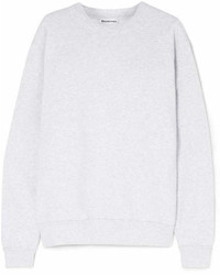 Balenciaga Embroidered Cotton Blend Jersey Sweatshirt Gray