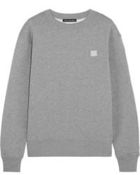 Acne Studios Fairview Appliqud Cotton Jersey Sweatshirt Light Gray