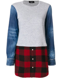 Flannel panelled sweatshirt medium 4947995