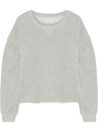 Simon Miller Frayed French Cotton Terry Sweatshirt Gray