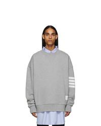 Thom Browne Grey 4 Bar Oversized Crewneck Sweatshirt