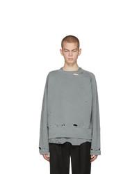 C2h4 Grey Agitator Distressed Layered Sweatshirt