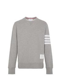 Thom Browne Grey Classic Sweatshirt With Engineered 4 Bar In Classic Loop Back