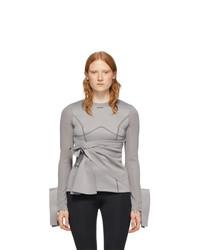 Off-White Grey Jersey Wrap Sweatshirt