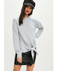 Missguided Grey Knot Hem Long Sleeve Sweatshirt