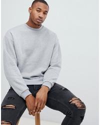 ASOS DESIGN Oversized Sweatshirt In Grey Marl Marl