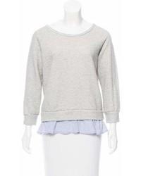 Velvet Paneled Three Quarter Sleeve Sweatshirt