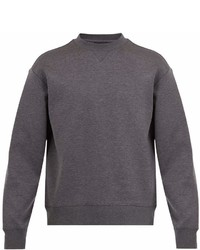 Prada Pintucked Sleeve Cotton Blend Sweatshirt