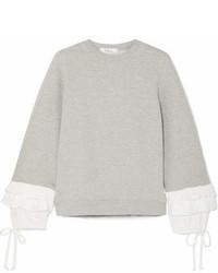Clu Ruffle Trimmed Cotton Blend Jersey Sweatshirt Gray