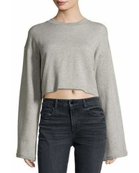 Alexander Wang T By Tie Back Long Sleeve Sweatshirt Gray