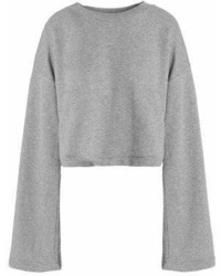 Alexander Wang T By Tie Back Mlange Cotton Blend Terry Sweatshirt