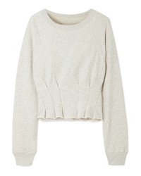 Current/Elliott The Pintucked Frayed French Cotton Terry Sweatshirt