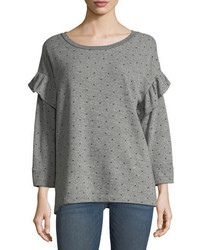 Current/Elliott The Ruffle Star Print Heathered Sweatshirt