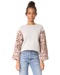 Clu Too Faux Fur Sleeve Sweatshirt