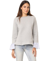 Clu Too Sweatshirt With Striped Ruffled Sleeves