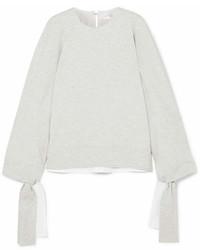 Victoria Beckham Victoria Tie Detailed Stretch Jersey Sweatshirt Gray