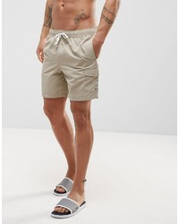 Asos Swim Shorts With Cargo Pocket And Drawcord Detail In Stone Mid Length