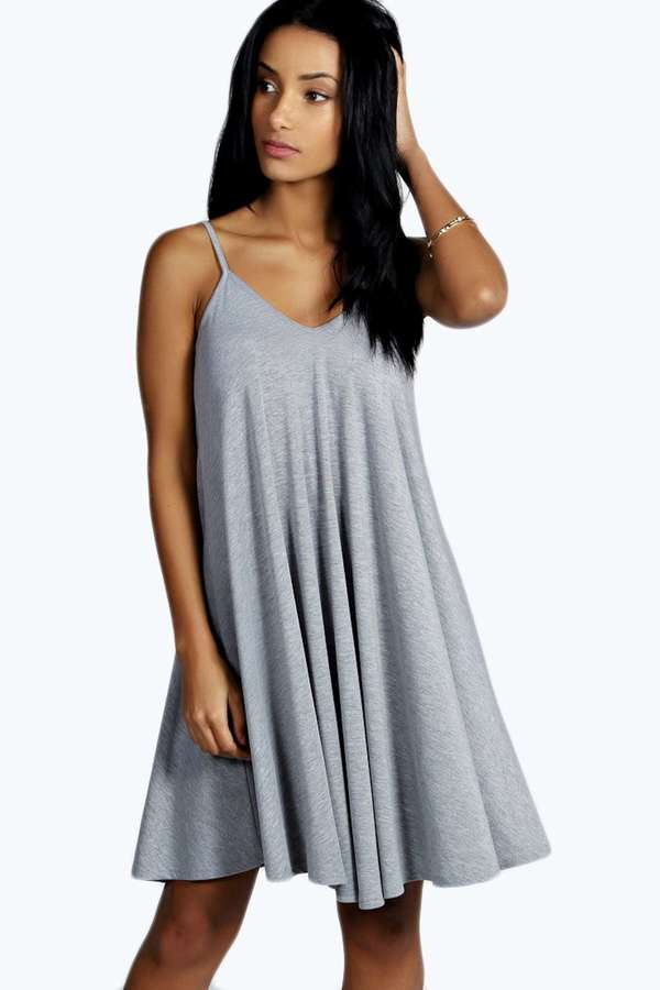 b6a22e722d2f ... Grey Swing Dresses Boohoo Dahlia Swing Dress ...