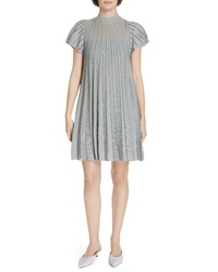 RED Valentino Metallic Sheer Stripe Minidress