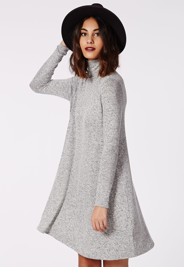 3e8388ee2c8d ... Missguided Jeanette High Neck Swing Dress Grey ...