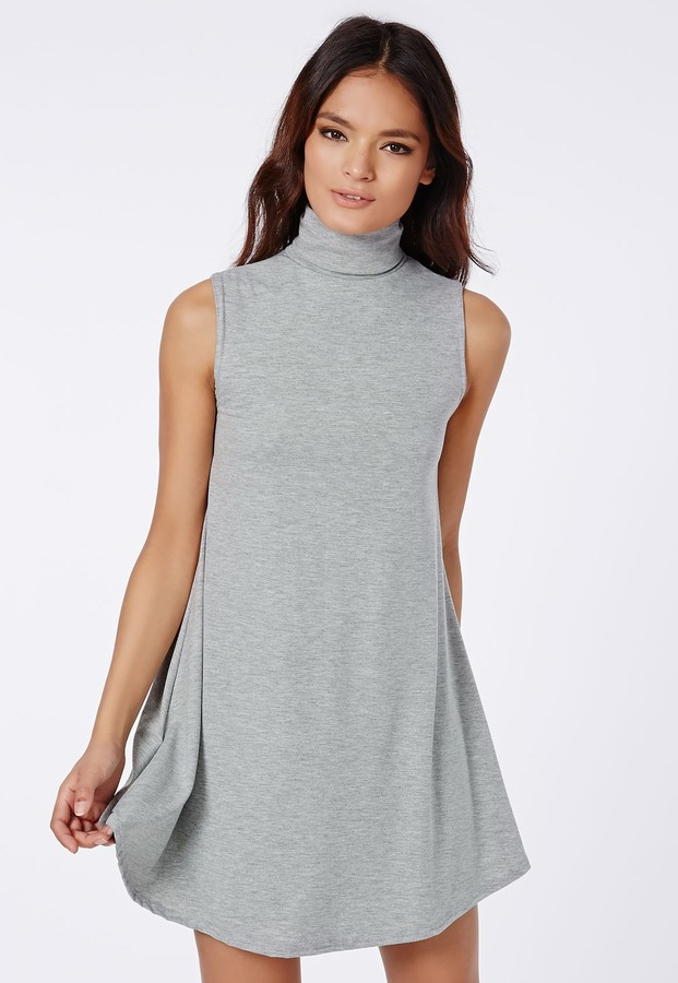 5050e730298e ... Missguided Raina Sleeveless Roll Neck Swing Dress Grey ...