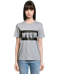 MSGM Loose Fit Logo Cotton Jersey T Shirt