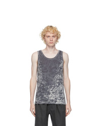 Dries Van Noten Grey Velvet Tank Top