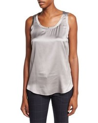 Brunello Cucinelli Scoop Neck Satin Tank Medium Gray