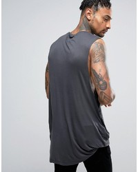 60c36326a10787 ... Asos Super Longline Sleeveless T Shirt In Bamboo Fabric With Hitched Hem  ...