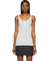 Alexander Wang T By Heather Grey Ribbed Henley Tank Top