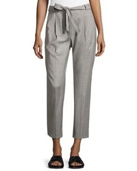 Antonelli rimini tie front straight ankle pants gray medium 1328124
