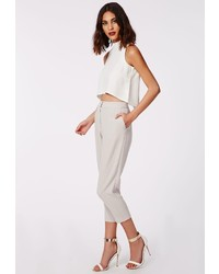 Missguided Marrie Cropped Tapered Trousers Grey