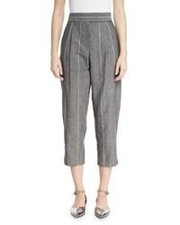 Brunello Cucinelli Striped Pleat Front Pants Gray