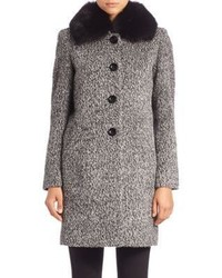 Sofia Cashmere Boucle Fur Collar Coat
