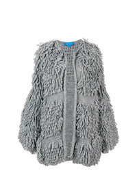 Grey Textured Open Cardigan