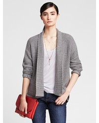 Banana Republic Textured Gray Open Cardigan