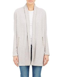 Barneys New York Whipstitch Detail Cardigan Grey Size Xl