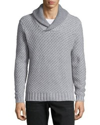 Neiman Marcus Cashmere By Billy Reid Shawl Collar Textured Sweater Gray