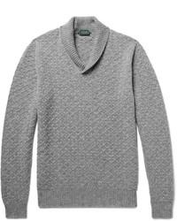 Incotex Shawl Collar Textured Virgin Wool Sweater