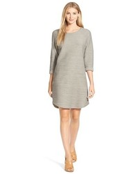 Roll sleeve textured knit shift dress medium 343247