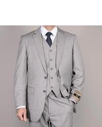 Bertolini Light Gray Wool Silk 3 Piece Vested Suit