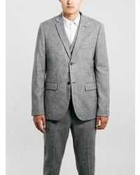 Topman Grey Textured Skinny Fit Three Piece Suit