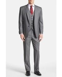 Hart Schaffner Marx Ny Classic Fit Three Piece Suit Grey 46l